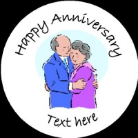 A013 Happy Anniversary Badge couple any text/number/background colour