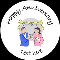 A014 Happy Anniversary Badge couple with glasses any text/number/background colour