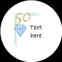 A015 Happy Anniversary Badge 50th with diamond any text background colour