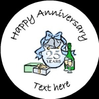 A016 Happy Anniversary Badge 25th with glasses and bells any text background colour