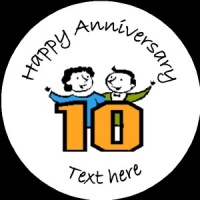 A018 Happy Anniversary Badge 10th any text background colour