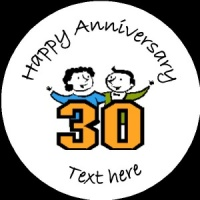 A019 Happy Anniversary Badge 30th any text background colour
