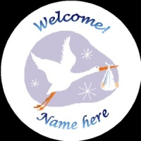 B006 New Baby Badge with stork 1 any text background colour