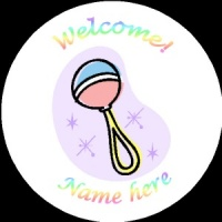 B011 New Baby Badge with rattle any text background colour