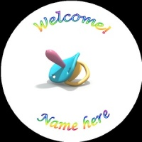 B012 New Baby Badge with dummy any text background colour