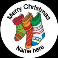 Personalised Christmas Badge three stockings sock