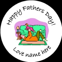 D003 Fathers Day Badge first fathers day any text background colour