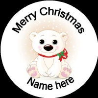 Personalised Christmas Badge baby polar pear with red ribbon
