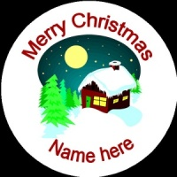 Personalised Christmas Badge winter cottage with snow
