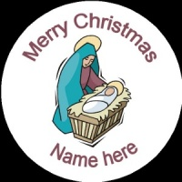 Personalised Christmas Badge Mary with baby Jesus nativity