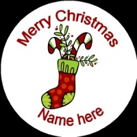 Personalised Christmas Badge stocking filled with presents