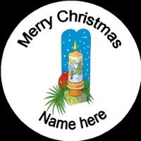 Personalised Christmas Badge decorated candle