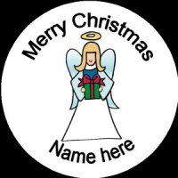 Personalised Christmas Badge angel