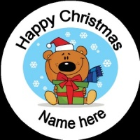 Personalised Christmas Badge bear with presents