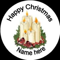 Personalised Christmas Badge candles