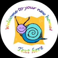H001 New Home Badge with snail house any text background colour