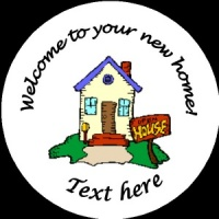 H002 New Home Badge with sold sign any text background colour