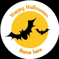 HA008 Personalised Halloween Badge bats flying in the moonlight