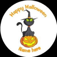 HA009 Personalised Halloween Badge black witches cat with pumpkin