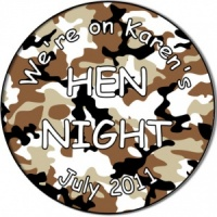 Hen night party personalised badge army desert camouflage