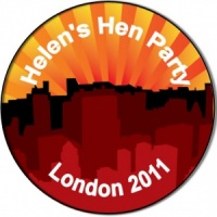 Hen night party personalised badge red city silhouette