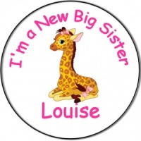 New Brother/Sister Baby Personalised Badge baby giraffe
