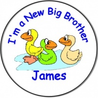 New Brother/Sister Baby Personalised Badge Ducklings