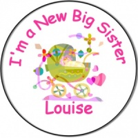 New Brother/Sister Baby Personalised Badge Pram with baby