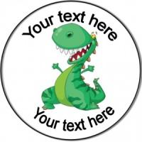 Personalised custom badge birthday cheerful dinosaur
