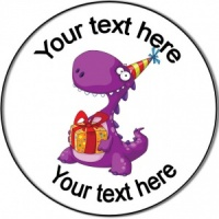 Personalised custom badge birthday dinosaur with present