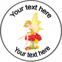 Personalised custom badge birthday fairy on mushroom
