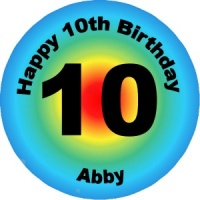Personalised custom badge birthday multicoloured with words going round the edge
