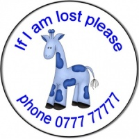 Personalised custom badge Childs If I am lost blue giraffe