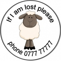 Personalised custom badge Childs If I am lost sheep lamb