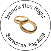Personalised custom badge hen night party gold wedding rings