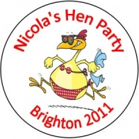 Personalised custom badge hen night party happy chick chicken with a bikini