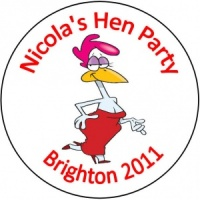 Personalised custom badge hen night party happy hen chick chicken with a red dress