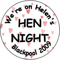 Personalised custom badge hen night party hearts background