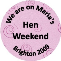 Personalised custom badge hen night party lilac swirled background