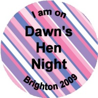 Personalised custom badge hen night party multicoloured striped diagonal background