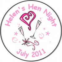Personalised custom badge hen night party pink hearts and champagne glasses