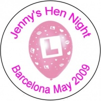 Personalised custom badge hen night party pink L plate balloon