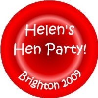 Personalised custom badge hen night party red circular background