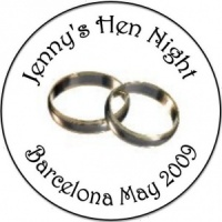 Personalised custom badge hen night party silver wedding rings
