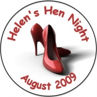 Personalised custom badge hen night party stiletto shoes