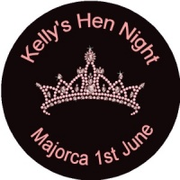 Personalised custom badge hen night party tiara on black background