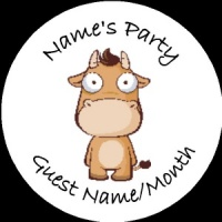Personalised custom badge Kids Party cow