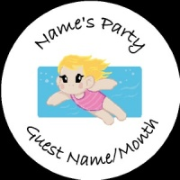 Personalised custom badge Kids Party girl swimming