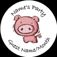 Personalised custom badge Kids Party pig