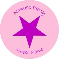 Personalised custom badge Kids Party purple star